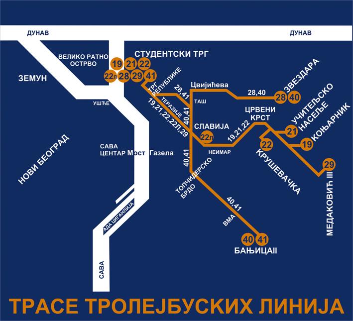 Mapa Liniјa Lako Kroz Beograd