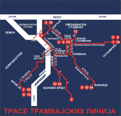 linija 23 mapa Lines map   Easy Through Belgrade linija 23 mapa